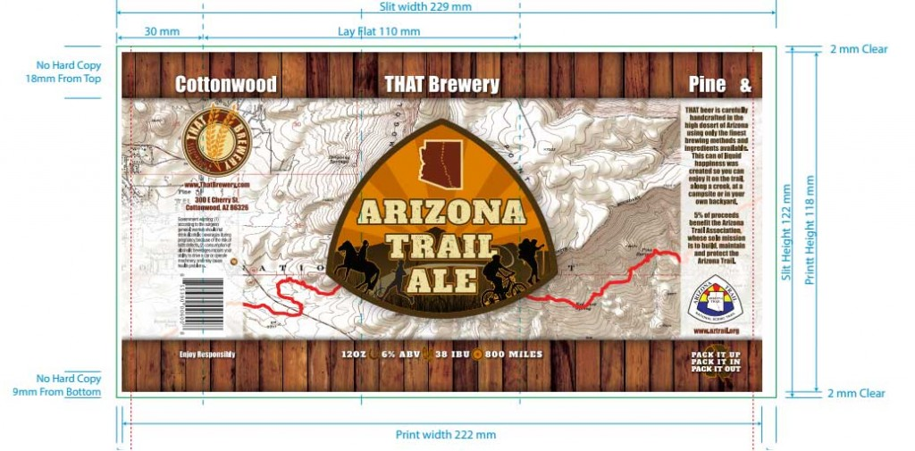 Graphic detail of the label design for the cans that will carry THAT Arizona Trail Ale